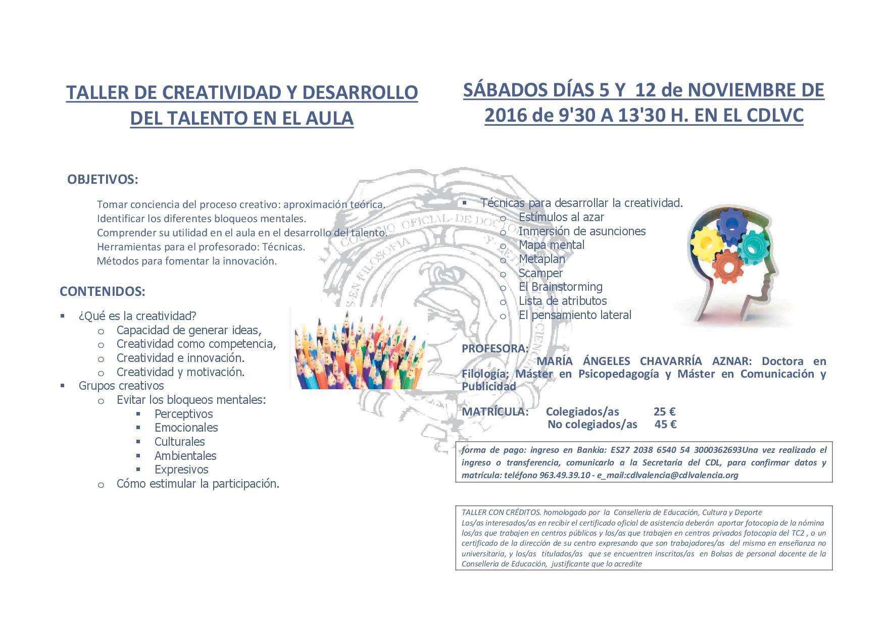 TALLER DE CREATIVIDAD Y DESARROLLO